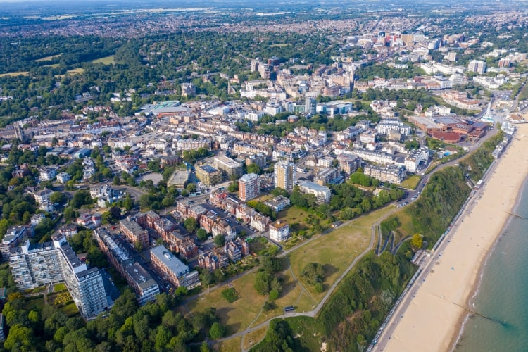 aerial drone photo of Bournemouth beach and town centre