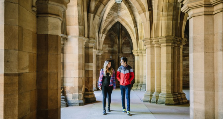 students in Glasgow University building