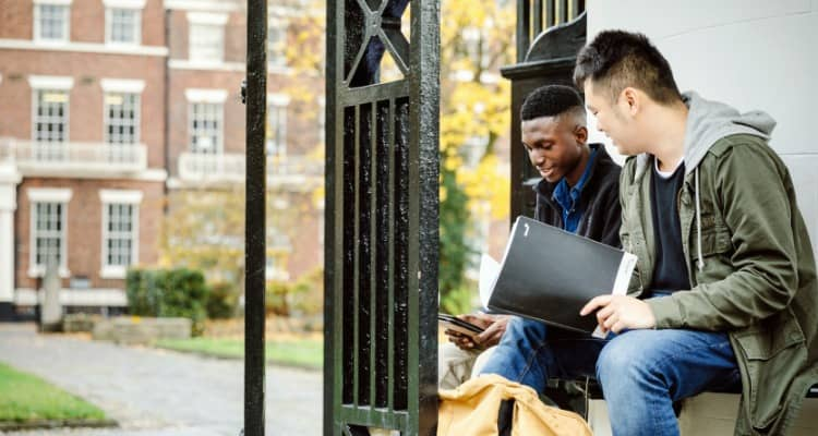 Students studying in Abercromby Square in Liverpool