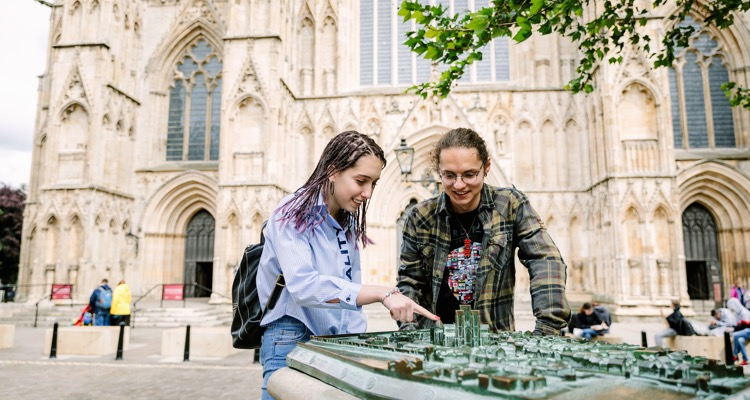 Students in front of York Minster