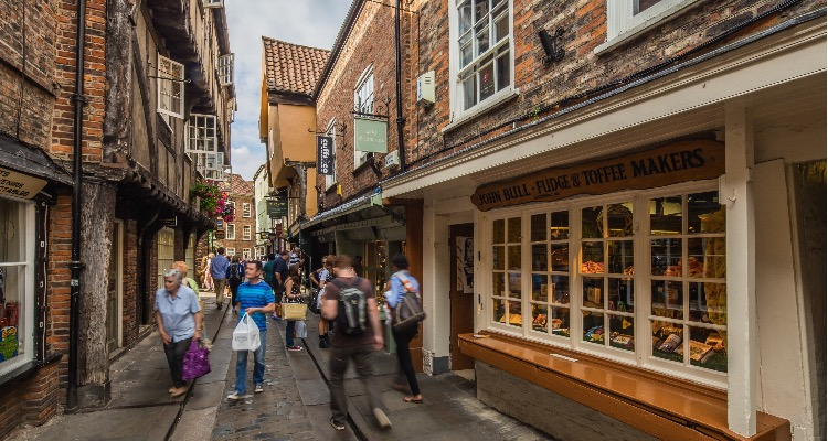 York's Shambles with its numerous shops and attractions