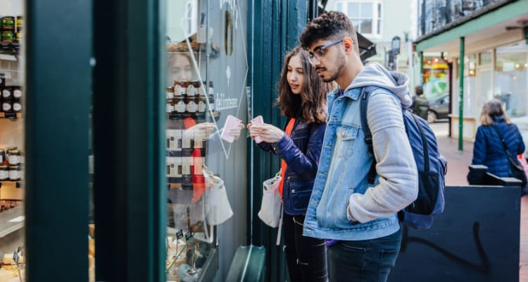 students shopping in Brighton