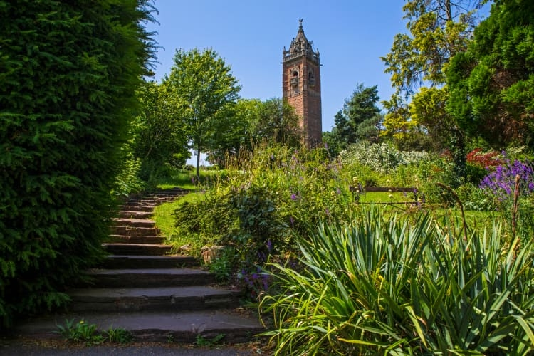 Cabot Tower in Bristol surrounded by garden