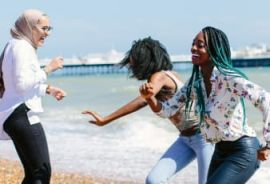 Brighton students on the beach