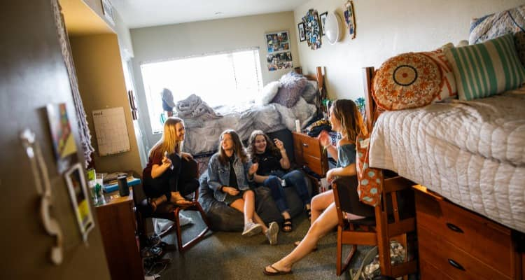 ASU students relax in a dorm room