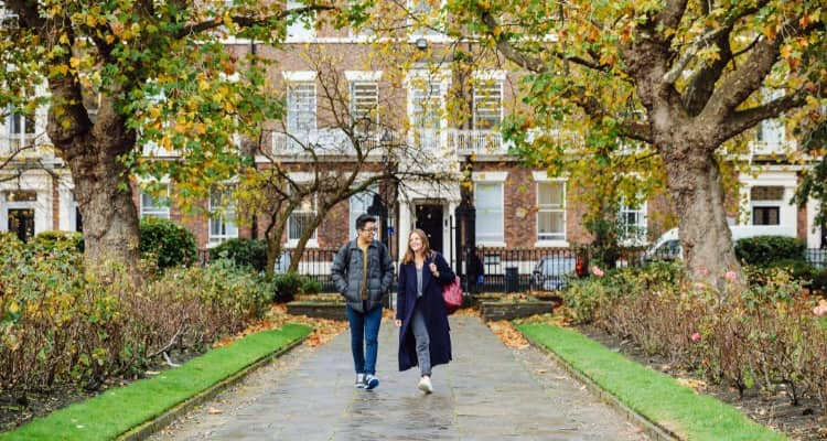 University of Liverpool students in Abercromby Square