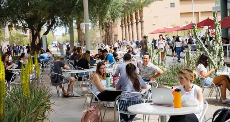 ASU students relax at an outdoor café