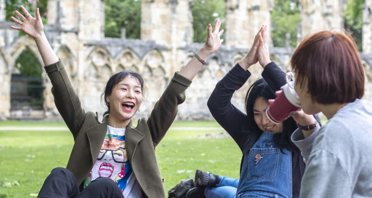 students sat on the grass in a park, smiling with their hands in the air