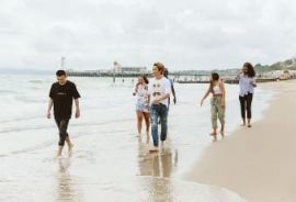 Students on Bournemouth beach