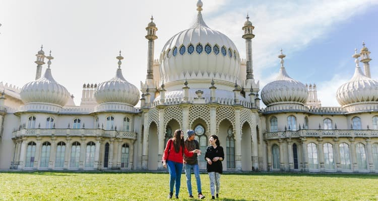 University of Brighton students outside Brighton Pavilion