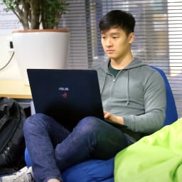 Male international student in accommodation