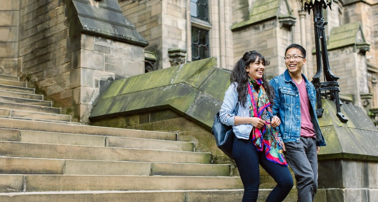 Students on campus at University of Glasgow