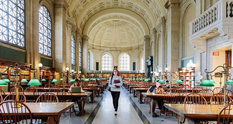 student in Boston library